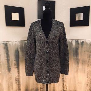 Cupio Black and Silver Sparkly Cardigan Size XL